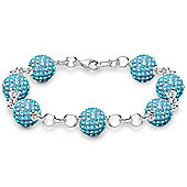 Jewelco London Rose Coated Sterling Silver Crystal 10mm Disco Ball Shamballa Bracelet - Aqua Blue