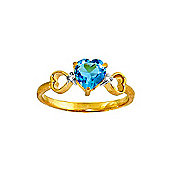 QP Jewellers Diamond & Blue Topaz Trinity Heart Ring in 14K Gold
