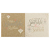 Tesco Gold & Cream Text Christmas Cards, 12 Pack