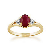Gemondo 9ct Yellow Gold 0.95ct Natural Ruby & Diamond Classic Single Stone Ring