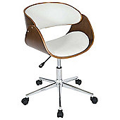 Walnut and White Height Adjustable Computer Chair