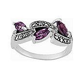 Gemondo Sterling Silver 0.62ct Amethyst & Marcasite Art Nouveau Style Ring