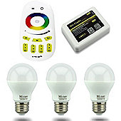 MiLight E27 6W RGB Colour Smart Light Starter Kit with Bridge, Remote and 3 Bulbs