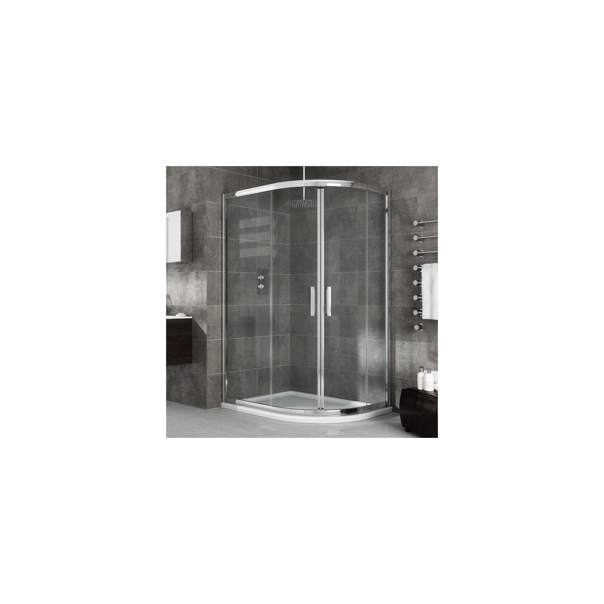 Elemis Eternity Offset Quadrant Shower Enclosure, 900mm x 800mm, 8mm Glass, Low Profile Tray, Left Handed at Tesco Direct