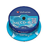 Verbatim CD-R 700MB 80 Minute 48x DataLife Plus Crystal Super AZO Spindle 25 Pack