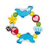 Heimess 735590 Wooden Elasticated Touch Ring Rattle (Dolphin)