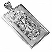 Urban Male Men's Pendant Jack of Hearts Playing Card Design In Stainless Steel