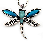 Teal Enamel Dragonfly Pendant Necklace In Burn Silver Metal - 38cm Length (6cm extender)