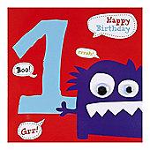 Monster Boys 1st Birthday Card