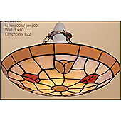 Loxton Lighting Tiffany Uplighter Tulip in Beige and Red