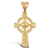 Jewelco London 9ct Solid Gold medium weight carved Celtic design Cross pendant