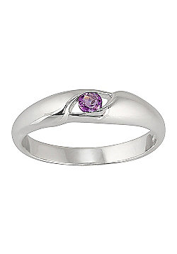 Gemondo Sterling Silver Oval Cut Amethyst Single Stone Ring