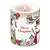 Ambiente Christmas Pillar Candle, Season Greetings