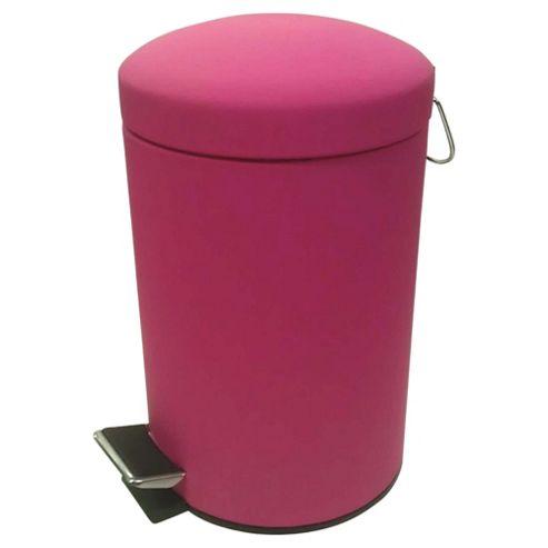 Tesco 3L Rubber Touch Pink Pedal Bin
