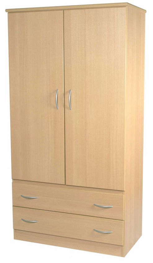 Welcome Furniture Avon 2 Drawer Wardrobe - Walnut - 95.5 cm W