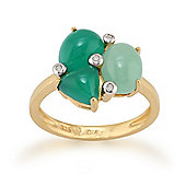 Gemondo Gold Plated Silver 1.64ct Chalcedony, 1.32ct Jade & 2.2pt Diamond Ring