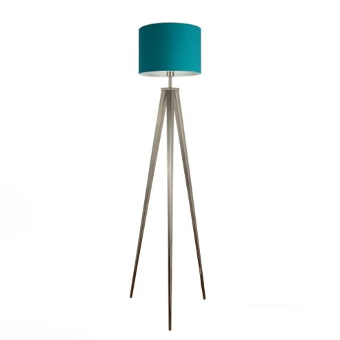Buy Nero Large Brushed Chrome Tripod Floor Lamp With Teal Rolla Shade From Ou