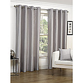 Faux Silk Silver Lined Ring Top Curtains - 65x54 Inches