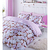 Catherine Lansfield Home Kids Marshmellows Pink Double Cotton Rich Quiltset