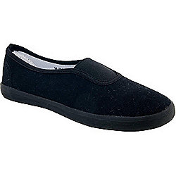 Boy Teens Osaga Senior Gym Slip on Black Plimsolls
