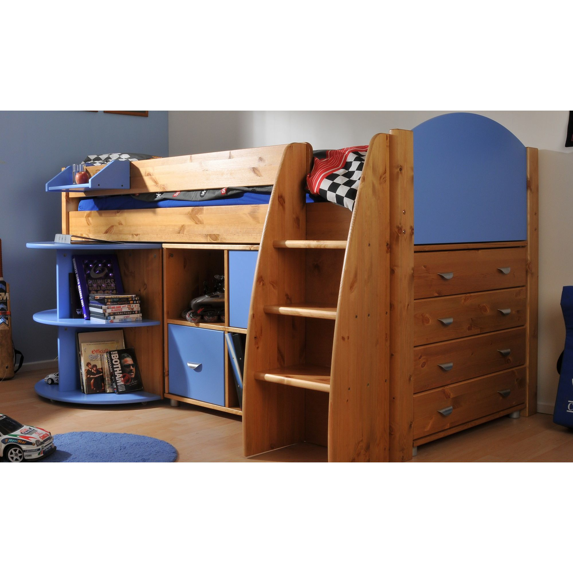 Stompa Rondo Mid Sleeper with 4 Drawer Chest, Cube Unit and Extending Desk - Blue - White at Tesco Direct