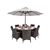 Olympia 8 Seater Round Rattan & Plaswood Set With Premium Arm Chairs - Outdoor/Garden table and Chair set