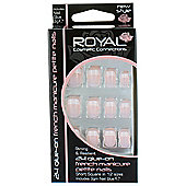 Royal 24 Glue On French Manicure Petite False Nails