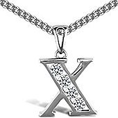 Jewelco London Sterling Silver Cubic Zirconia Identity Pendant - Initial X - 18inch Chain