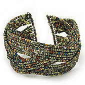 Boho Light Green/Brown/Gold Glass Bead Plaited Flex Cuff Bracelet - Adjustable