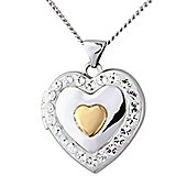 Sterling Silver & 9ct Rose Gold Crystal Set Locket Pendant with Chain