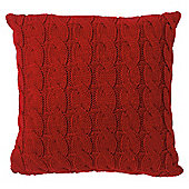 Red Cable Knit Cushion