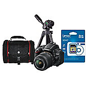 DS Nikon D5100 Digital Pro Camera Kit inc 18-55mm VR Lens, SLR Bag, Tripod, 8Gb SD