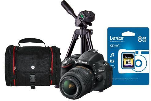 DS Nikon D5100 Digital Pro Camera Kit inc 18-55mm VR Lens, SLR Bag, Tripod, 8Gb SD