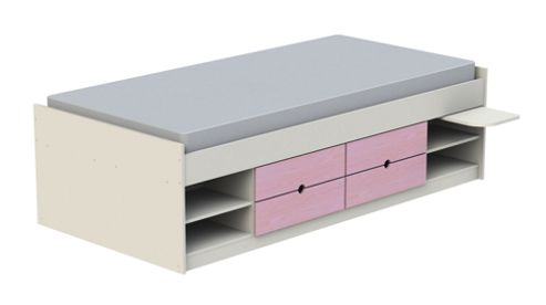 Ashcraft Teen Functional Cabin Bed Frame - White With Pink