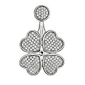 REAL Effect Rhodium Plated Sterling Silver White Cubic Zirconia Four-Leaf Clover Charm Pendant - 16/18 inch