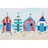 Artistic Britain Beach Huts And Seagulls by Claire Henley Wall Art