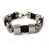Mens Seven London Double Braided Brown Leather and Steel Bracelet