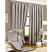Paoletti - Belmont Lined Chenille Pencil Pleat Jacquard Woven Curtains - Silver