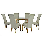 Atlantico Long White Wood Top Dining Table Set with 6 Cream Chelsea Chairs
