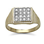 Jewelco London 9 Carat Yellow Gold 50pts Gents Square Shape Diamond Ring