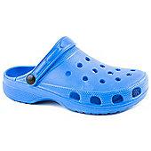 Beach Essentials Ladies Blue Plain Clog Sandal - 3