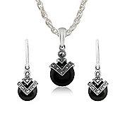Gemondo Sterling Silver Black Onyx & Marcasite Art Deco Round Drop Earring & 45cm Necklace Set