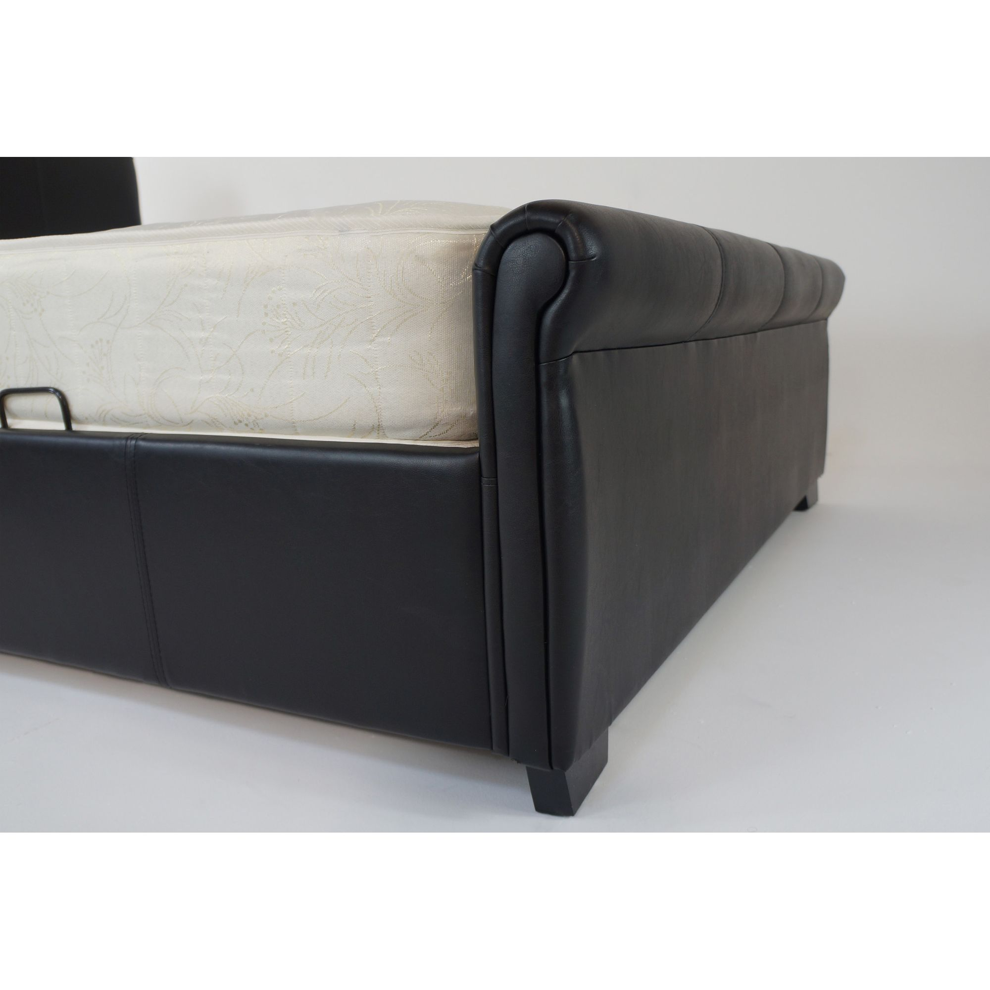 Alpha furniture Roma Real Leather Bed - Black - Double at Tesco Direct