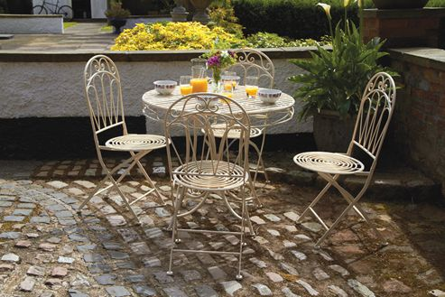 Buy Romance 5pc Antique White Dining Set 90cm Table With 4 Folding Chairs F