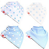 Zippy Boxed Gift Set of 4 Fun Bandana Dribble Bibs - Blue and White