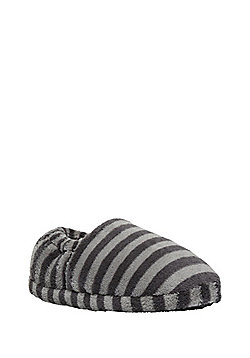 F&F Striped Closed Back Slippers - Grey