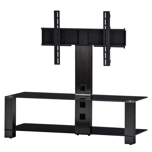 Sonorous Smoked Aluminium and Black Glass TV Stand