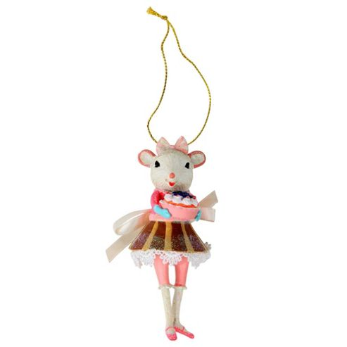 Buy white ballerina mouse in pink dress christmas tree for Ballerina tree decoration