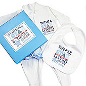 Personalised Twinkle Blue Gift Set - Babygrow & Bib