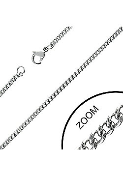 Urban Male 2mm Stainless Steel Cuban Link Chain Necklace 24in Long